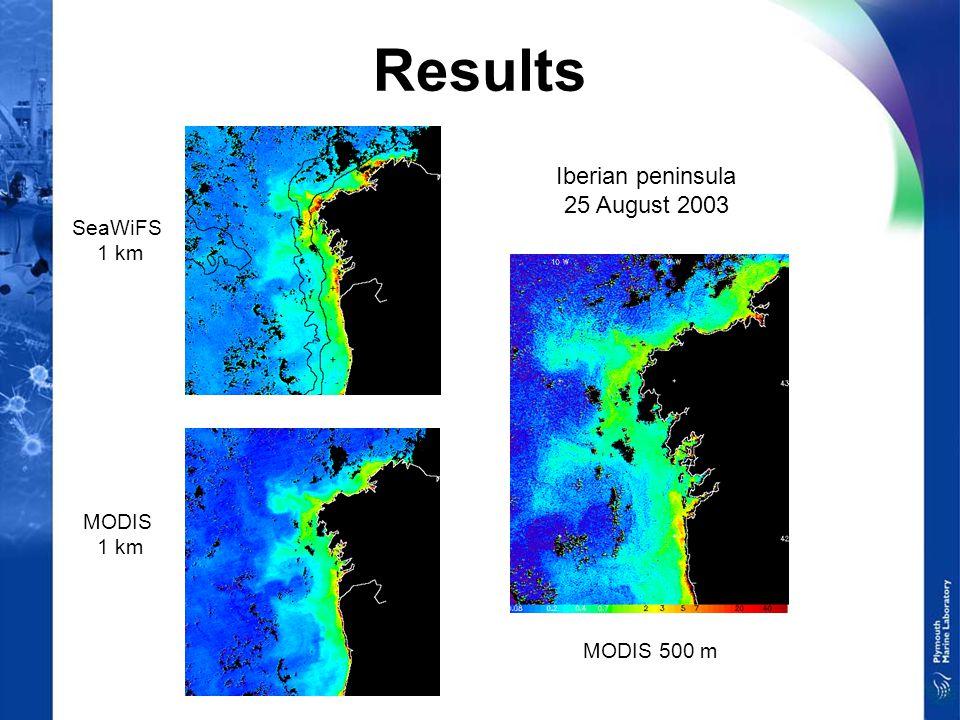 Results Iberian peninsula 25 August 2003 SeaWiFS 1 km MODIS 1 km MODIS 500 m