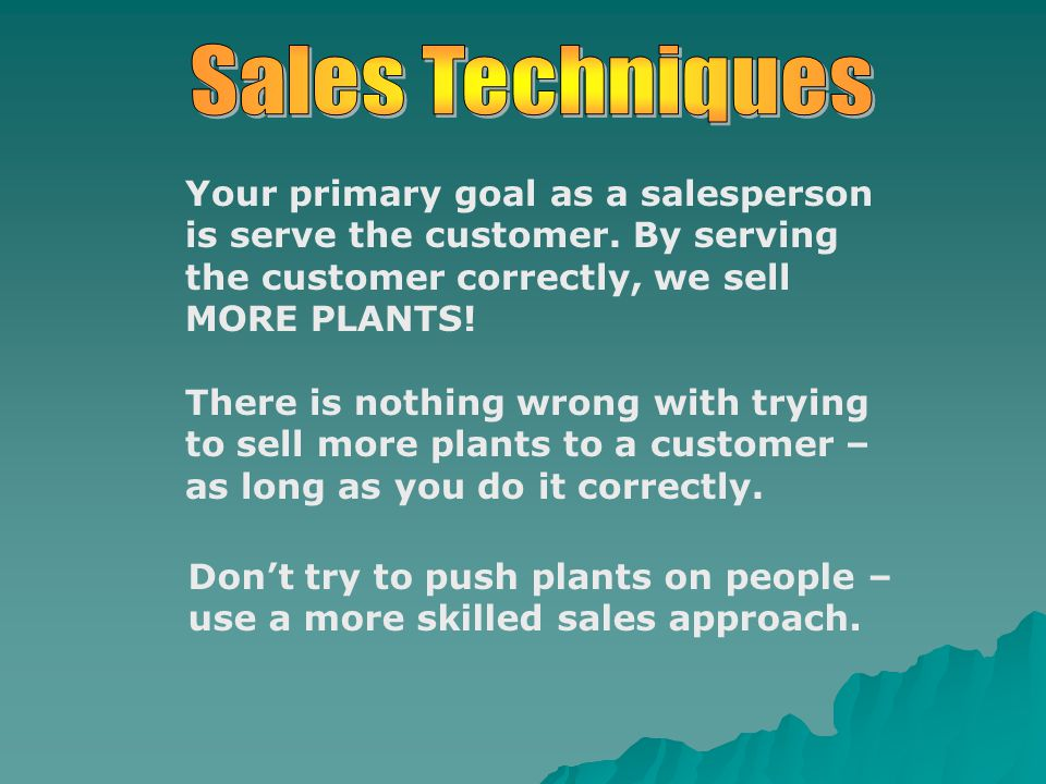 Your primary goal as a salesperson is serve the customer.