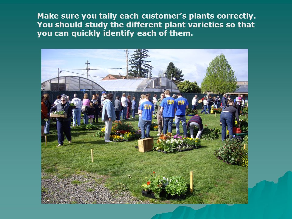 Make sure you tally each customer's plants correctly.