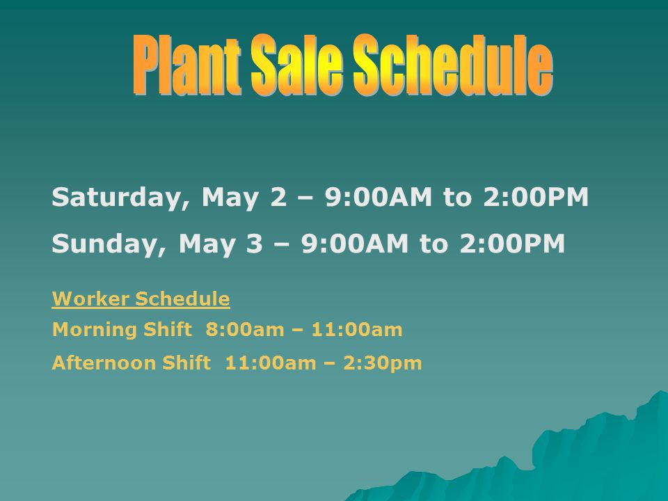 Saturday, May 2 – 9:00AM to 2:00PM Sunday, May 3 – 9:00AM to 2:00PM Worker Schedule Morning Shift 8:00am – 11:00am Afternoon Shift 11:00am – 2:30pm