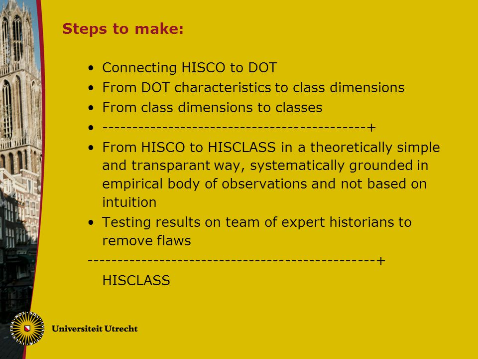 Steps to make: Connecting HISCO to DOT From DOT characteristics to class dimensions From class dimensions to classes --------------------------------------------+ From HISCO to HISCLASS in a theoretically simple and transparant way, systematically grounded in empirical body of observations and not based on intuition Testing results on team of expert historians to remove flaws ------------------------------------------------+ HISCLASS