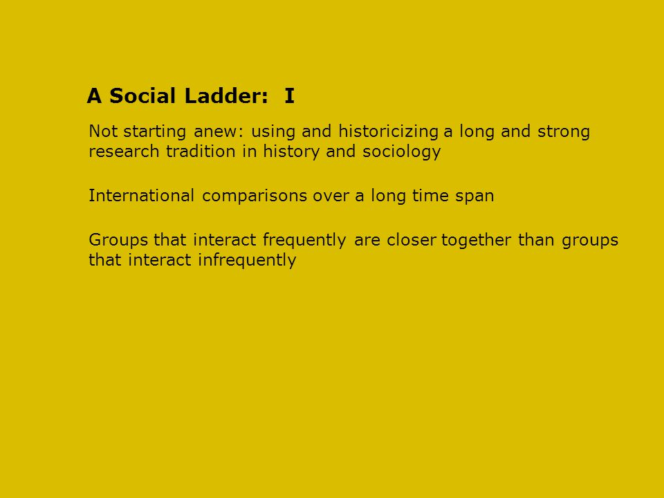 A Social Ladder: I Not starting anew: using and historicizing a long and strong research tradition in history and sociology International comparisons over a long time span Groups that interact frequently are closer together than groups that interact infrequently