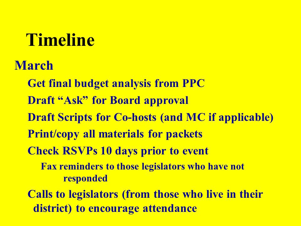 "Timeline March Get final budget analysis from PPC Draft ""Ask"" for Board approval Draft Scripts for Co-hosts (and MC if applicable) Print/copy all mate"