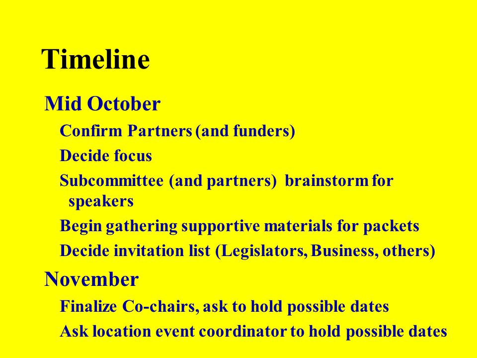 Timeline Mid October Confirm Partners (and funders) Decide focus Subcommittee (and partners) brainstorm for speakers Begin gathering supportive materi