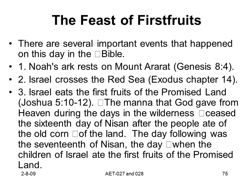 The Feast of Firstfruits There are several important events that happened on this day in the Bible. 1. Noah's ark rests on Mount Ararat (Genesis 8:4).