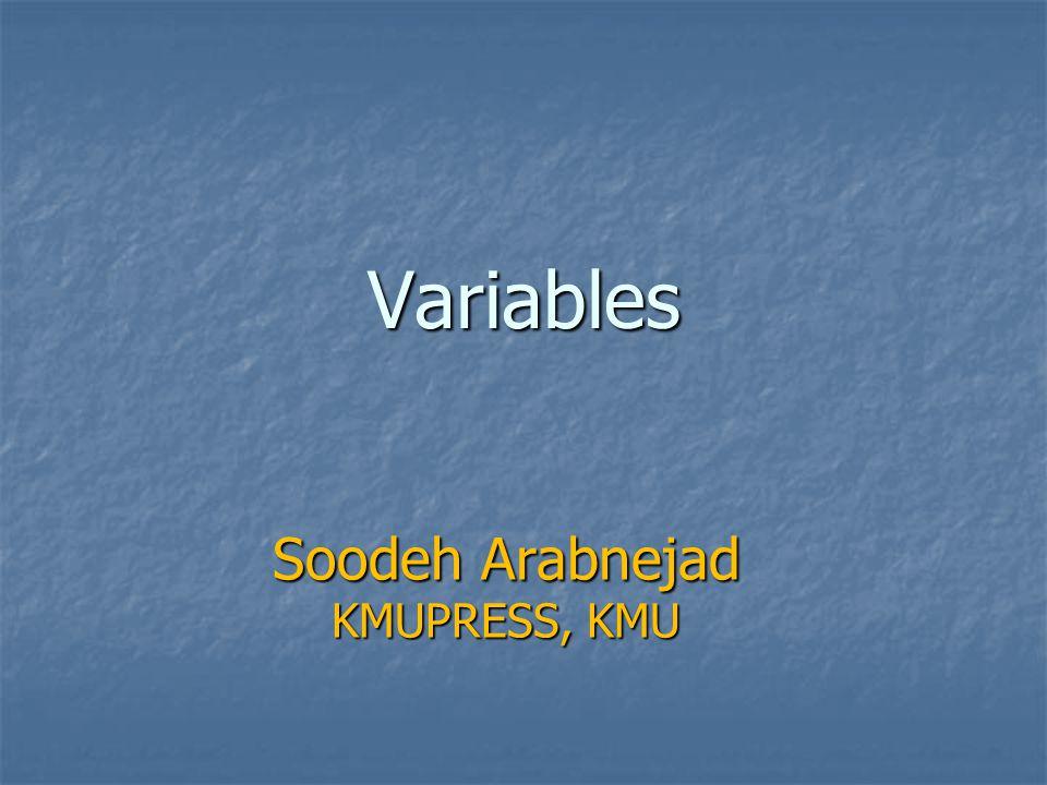 Variables Soodeh Arabnejad KMUPRESS, KMU