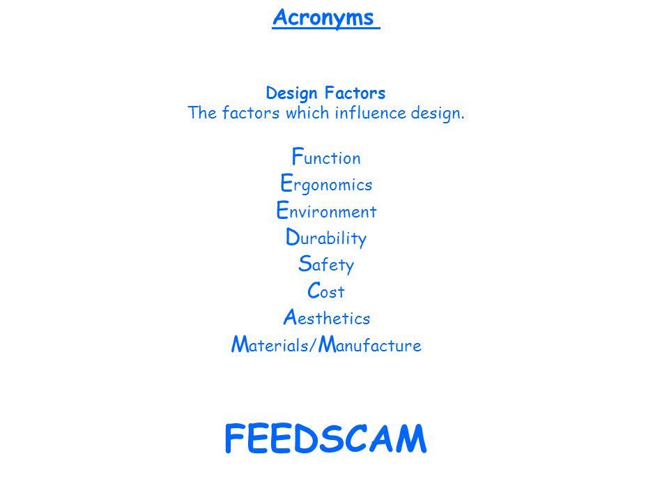 Design Factors The factors which influence design. F unction E rgonomics E nvironment D urability S afety C ost A esthetics M aterials/ M anufacture F