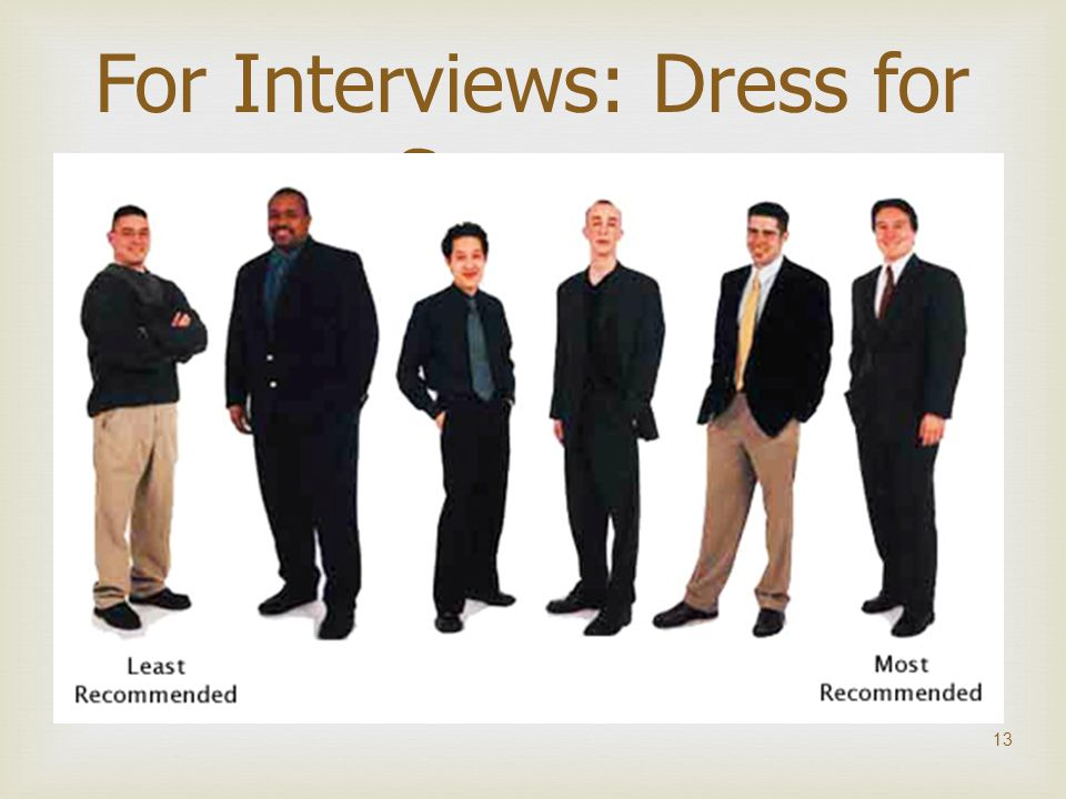  13 For Interviews: Dress for Success
