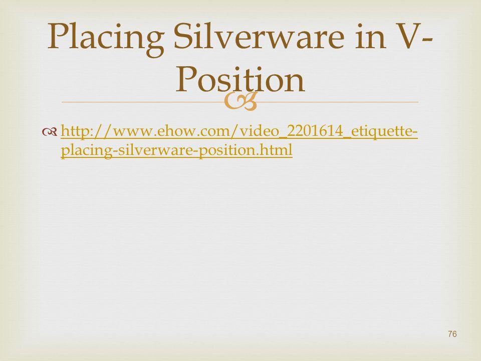   http://www.ehow.com/video_2201614_etiquette- placing-silverware-position.html http://www.ehow.com/video_2201614_etiquette- placing-silverware-posi