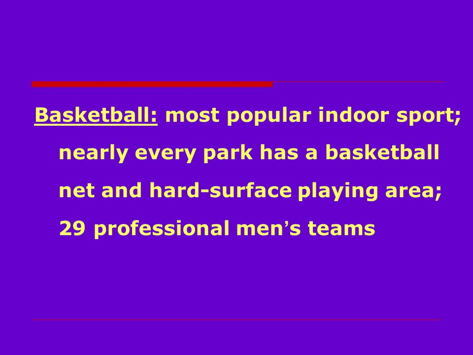 Basketball: most popular indoor sport; nearly every park has a basketball net and hard-surface playing area; 29 professional men ' s teams