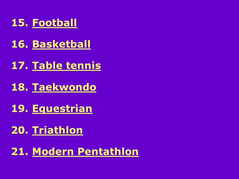 15. Football 16. Basketball 17. Table tennis 18.
