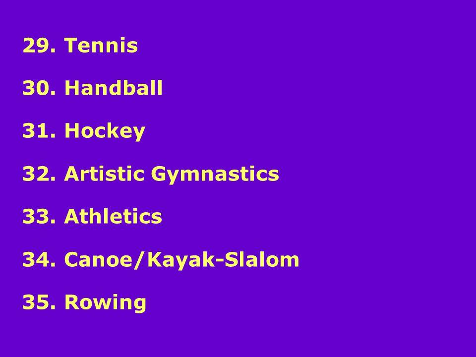 29. Tennis 30. Handball 31. Hockey 32. Artistic Gymnastics 33.