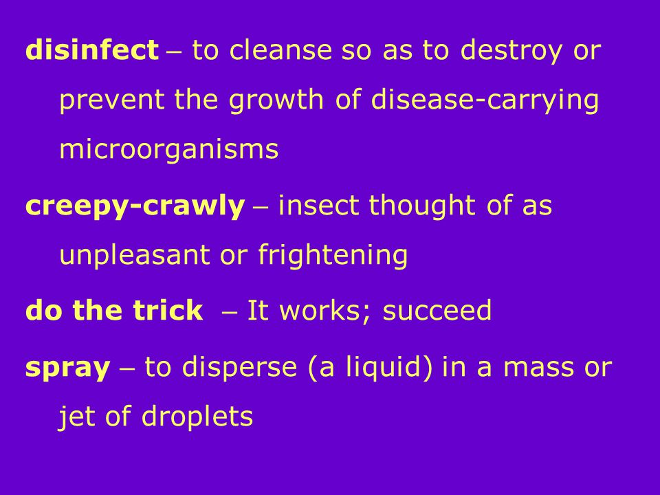 disinfect – to cleanse so as to destroy or prevent the growth of disease-carrying microorganisms creepy-crawly – insect thought of as unpleasant or frightening do the trick – It works; succeed spray – to disperse (a liquid) in a mass or jet of droplets