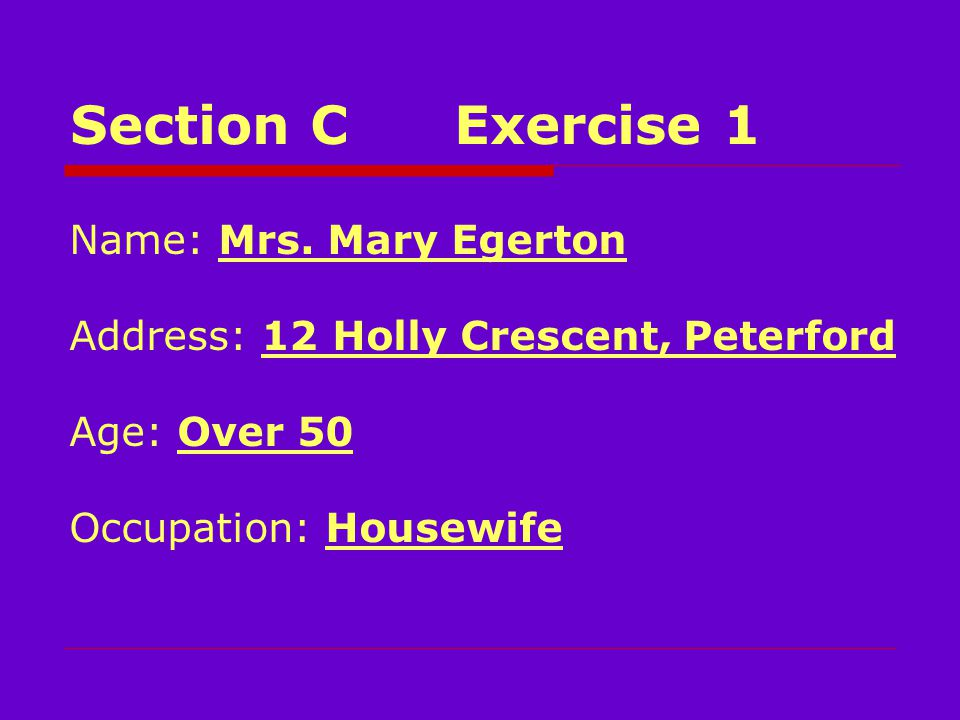 Section CExercise 1 Name: Mrs.