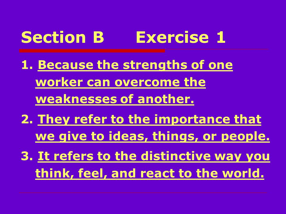 Section BExercise 1 1. Because the strengths of one worker can overcome the weaknesses of another.