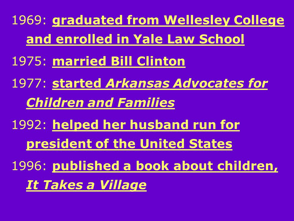 1969: graduated from Wellesley College and enrolled in Yale Law School 1975: married Bill Clinton 1977: started Arkansas Advocates for Children and Families 1992: helped her husband run for president of the United States 1996: published a book about children, It Takes a Village