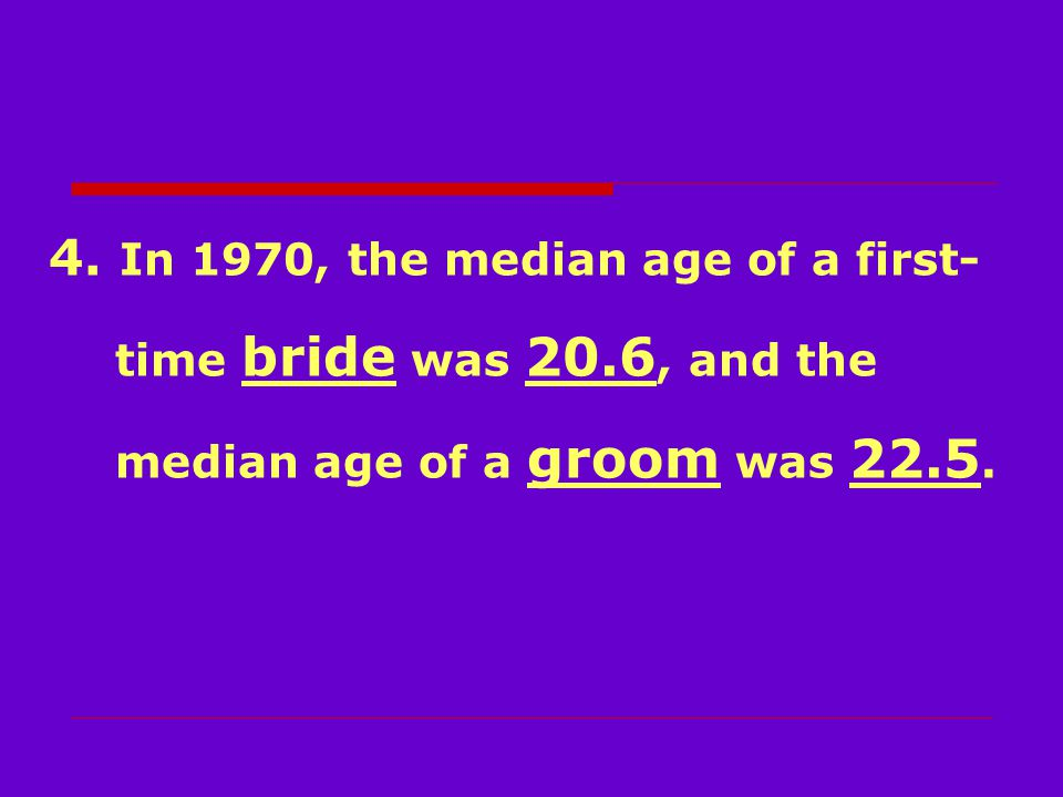 4. In 1970, the median age of a first- time bride was 20.6, and the median age of a groom was 22.5.