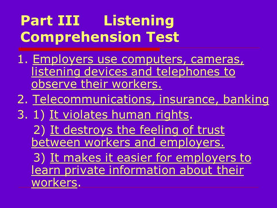 Part III Listening Comprehension Test 1.