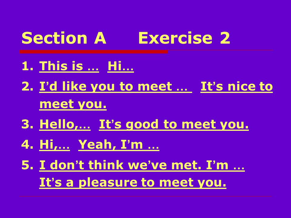 Section AExercise 2 Telemarketer: offer Man: subscription, airfare, flamenco Telemarketer: trial, introductory Telemarketer: access Man: fitness Telemarketer: once-in-a-lifetime Man: pass, list.
