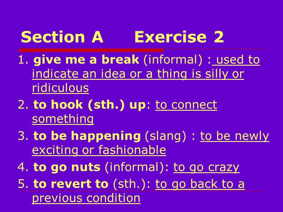 Section AExercise 2 1.