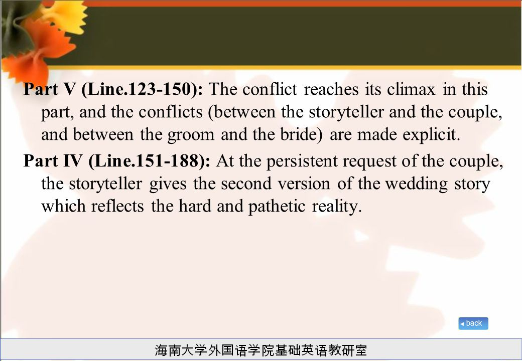 Part V (Line.123-150): The conflict reaches its climax in this part, and the conflicts (between the storyteller and the couple, and between the groom and the bride) are made explicit.
