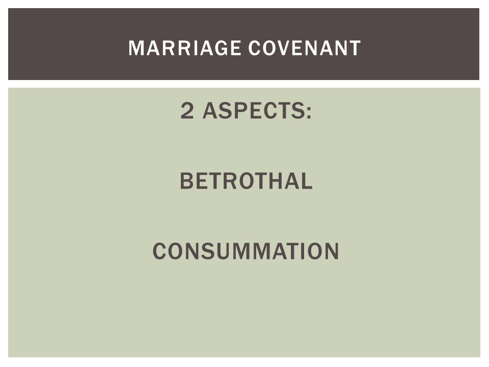 2 ASPECTS: BETROTHAL CONSUMMATION MARRIAGE COVENANT