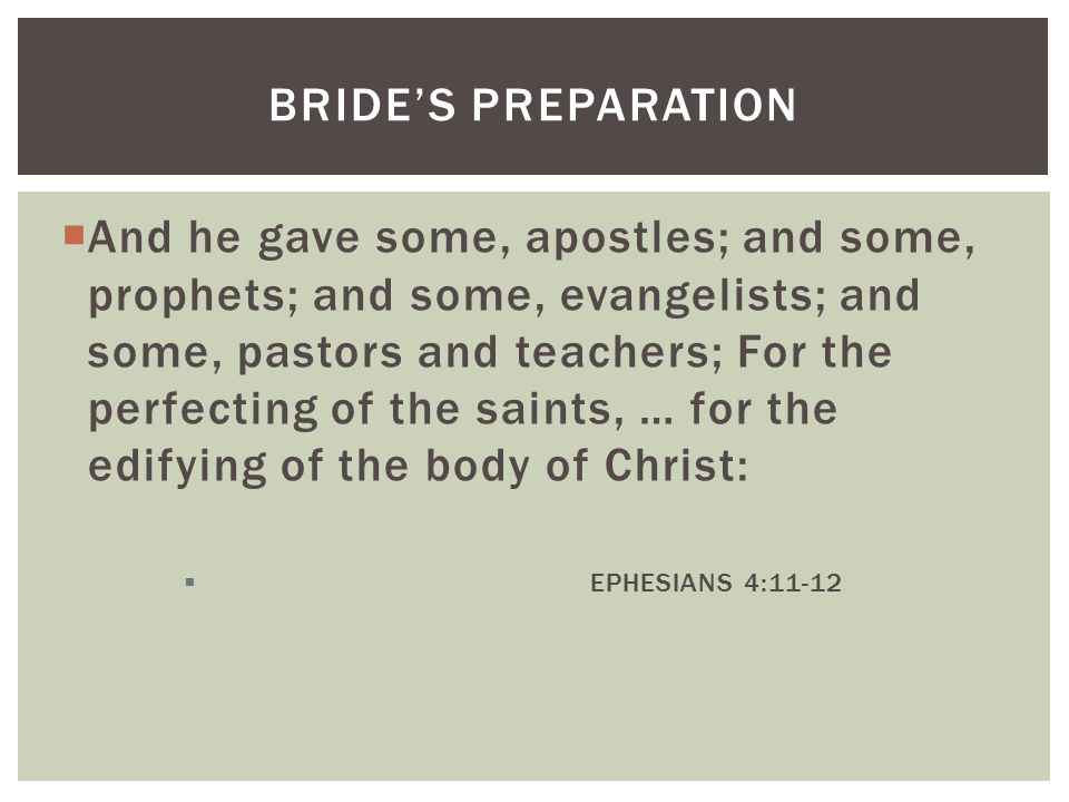  And he gave some, apostles; and some, prophets; and some, evangelists; and some, pastors and teachers; For the perfecting of the saints, … for the edifying of the body of Christ:  EPHESIANS 4:11-12 BRIDE'S PREPARATION