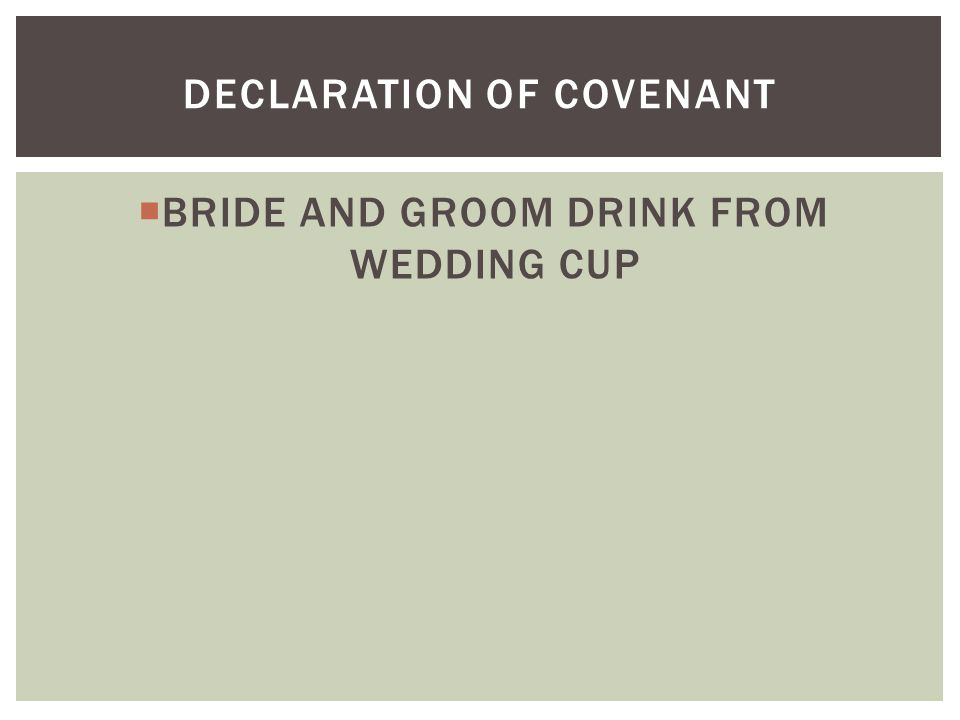  BRIDE AND GROOM DRINK FROM WEDDING CUP DECLARATION OF COVENANT