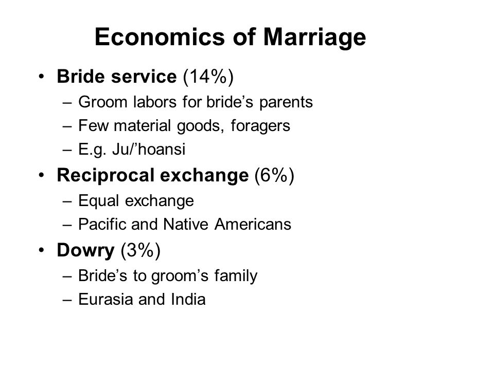 Economics of Marriage Bride service (14%) –Groom labors for bride's parents –Few material goods, foragers –E.g.