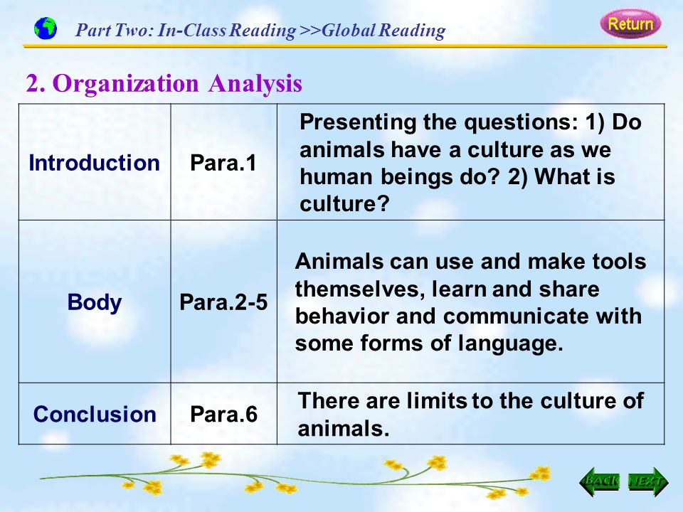 IntroductionPara.1 Presenting the questions: 1) Do animals have a culture as we human beings do? 2) What is culture? BodyPara.2-5 Animals can use and