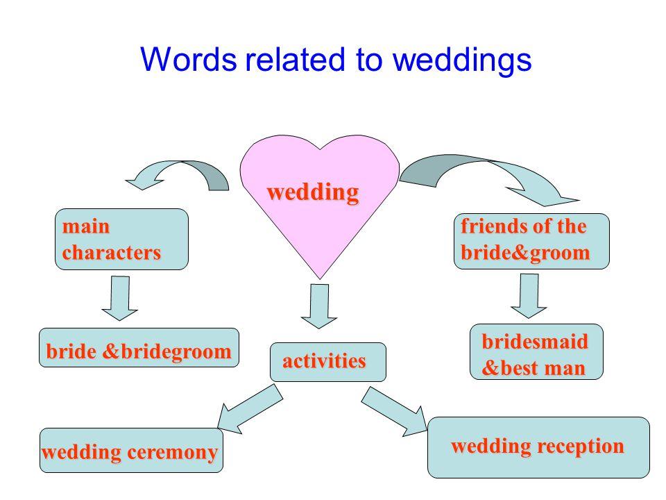 wedding main characters bride &bridegroom friends of the bride&groom bridesmaid &best man activities wedding ceremony wedding reception Words related to weddings