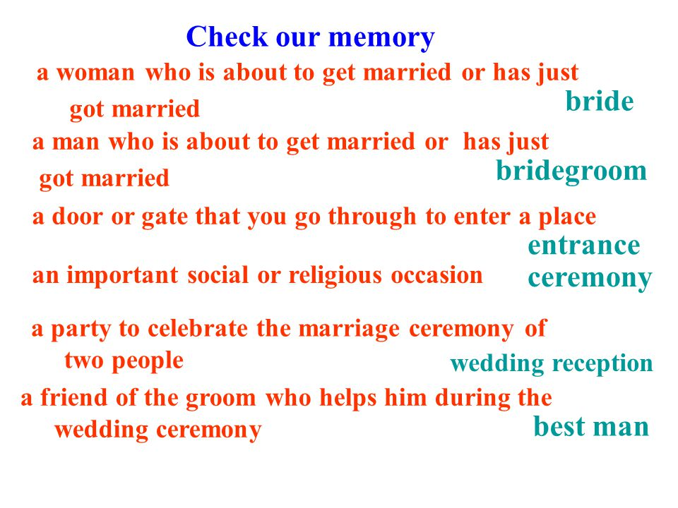 a man who is about to get married or has just got married wedding reception best man ceremony entrance bridegroom Check our memory a friend of the groom who helps him during the wedding ceremony a party to celebrate the marriage ceremony of two people a door or gate that you go through to enter a place a woman who is about to get married or has just got married an important social or religious occasion bride