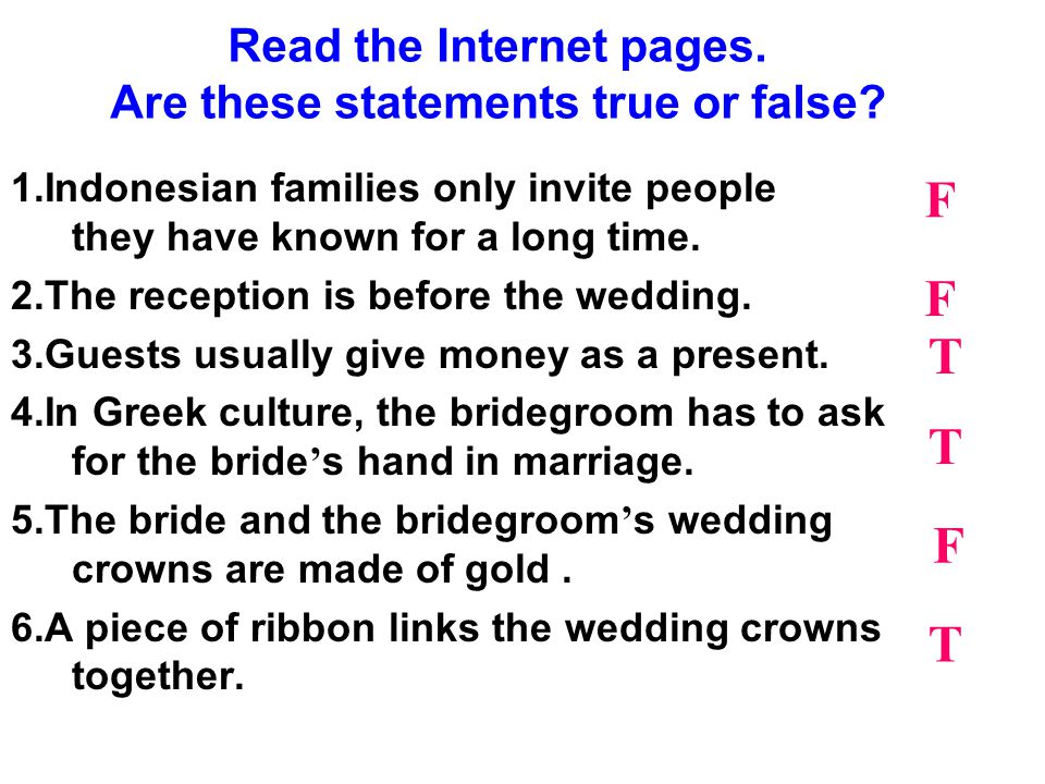 Read the Internet pages. Are these statements true or false.