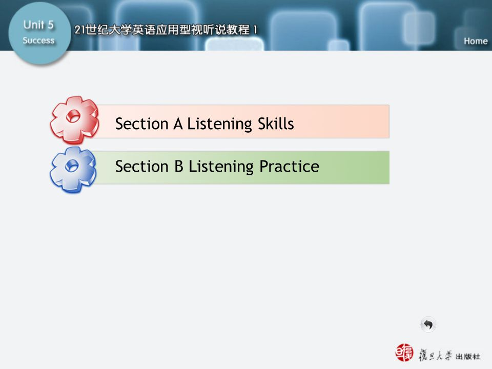 Part A Listening-main Section B Listening Practice Section A Listening Skills