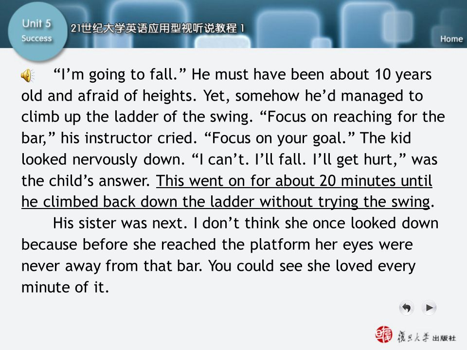 """""""I'm going to fall."""" He must have been about 10 years old and afraid of heights. Yet, somehow he'd managed to climb up the ladder of the swing. """"Focus"""