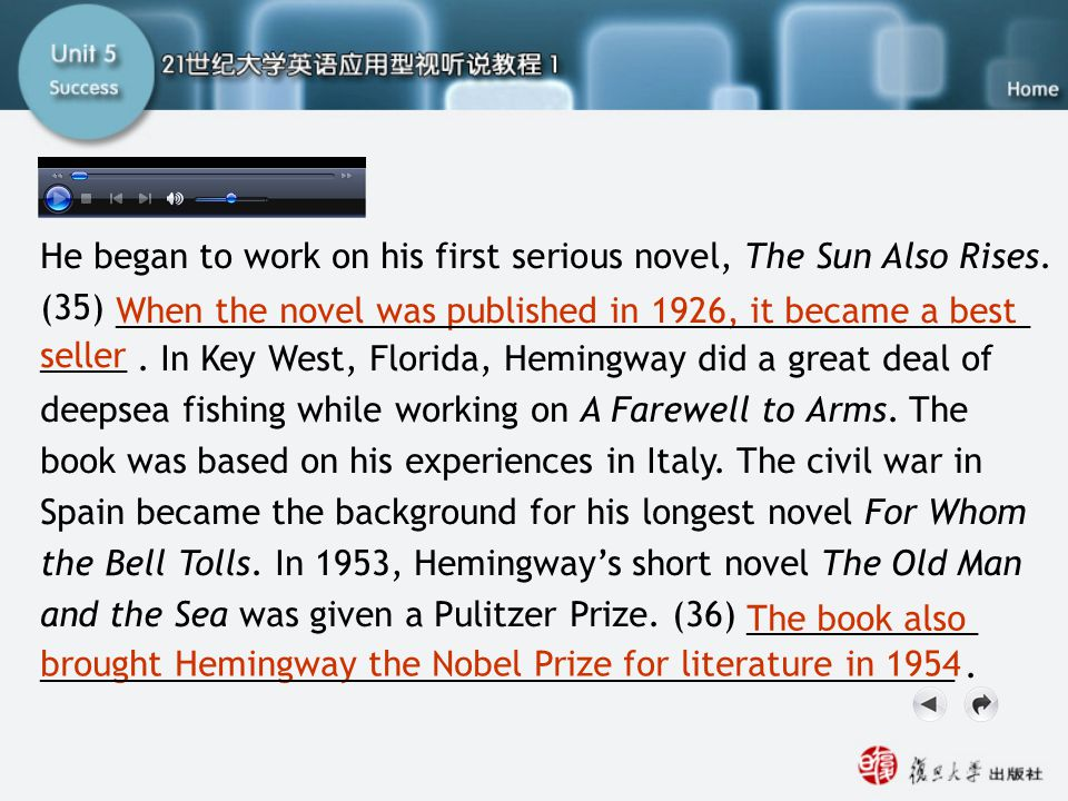 He began to work on his first serious novel, The Sun Also Rises. (35). In Key West, Florida, Hemingway did a great deal of deepsea fishing while worki