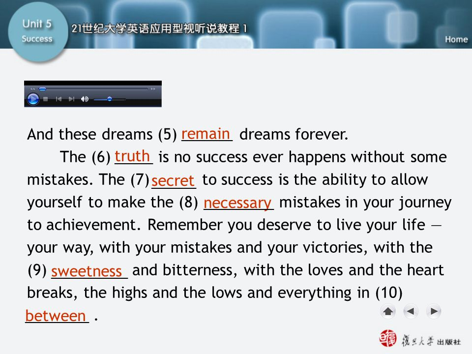 And these dreams (5) dreams forever. The (6) is no success ever happens without some mistakes. The (7) to success is the ability to allow yourself to