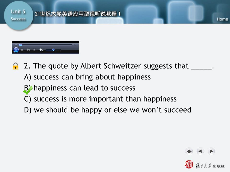 SB-Task Two2 2. The quote by Albert Schweitzer suggests that _____. A) success can bring about happiness B) happiness can lead to success C) success i