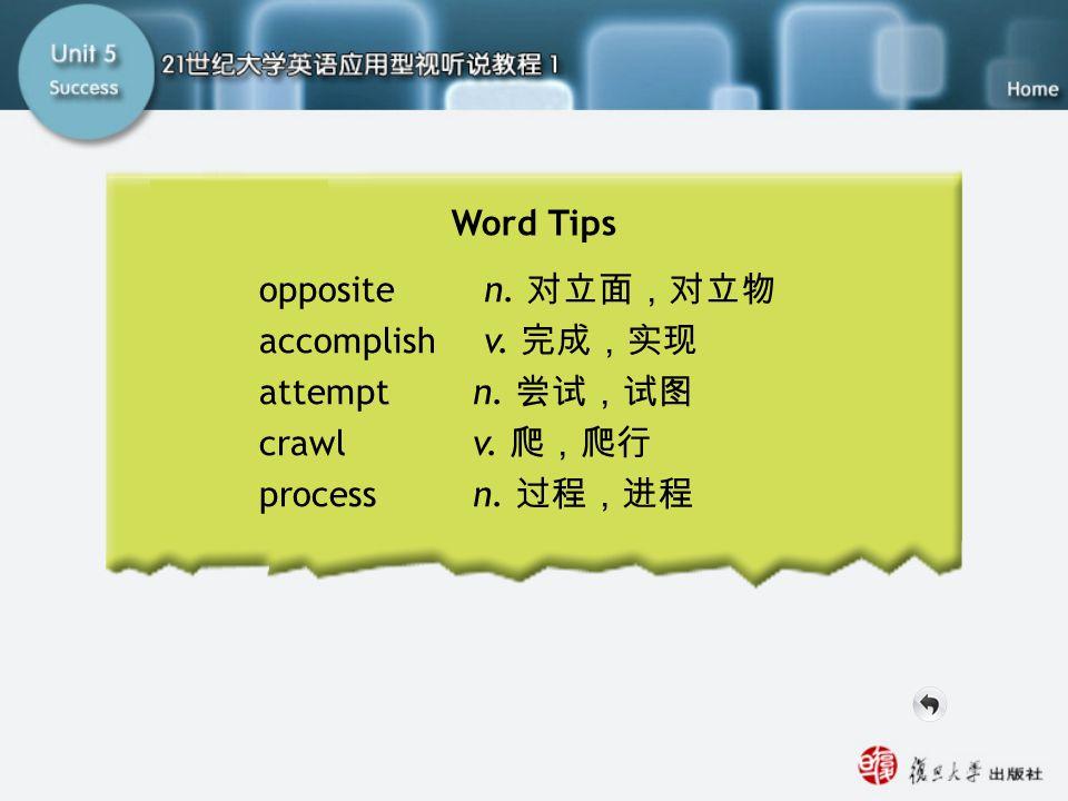 Word Tips opposite n. 对立面,对立物 accomplish v. 完成,实现 attempt n. 尝试,试图 crawlv. 爬,爬行 process n. 过程,进程 Word Tips