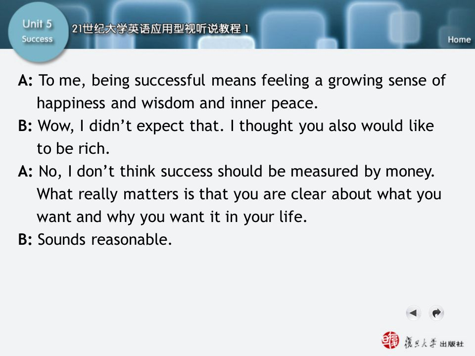 SB-Script2.2 A: To me, being successful means feeling a growing sense of happiness and wisdom and inner peace. B: Wow, I didn't expect that. I thought
