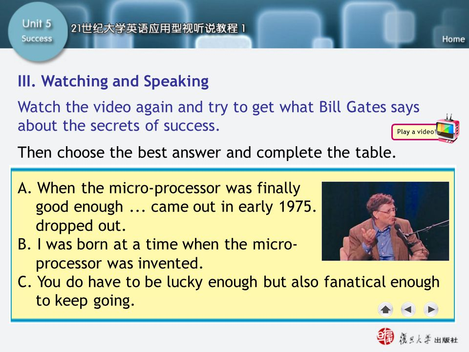 A. When the micro-processor was finally good enough... came out in early 1975. I dropped out. B. I was born at a time when the micro- processor was in