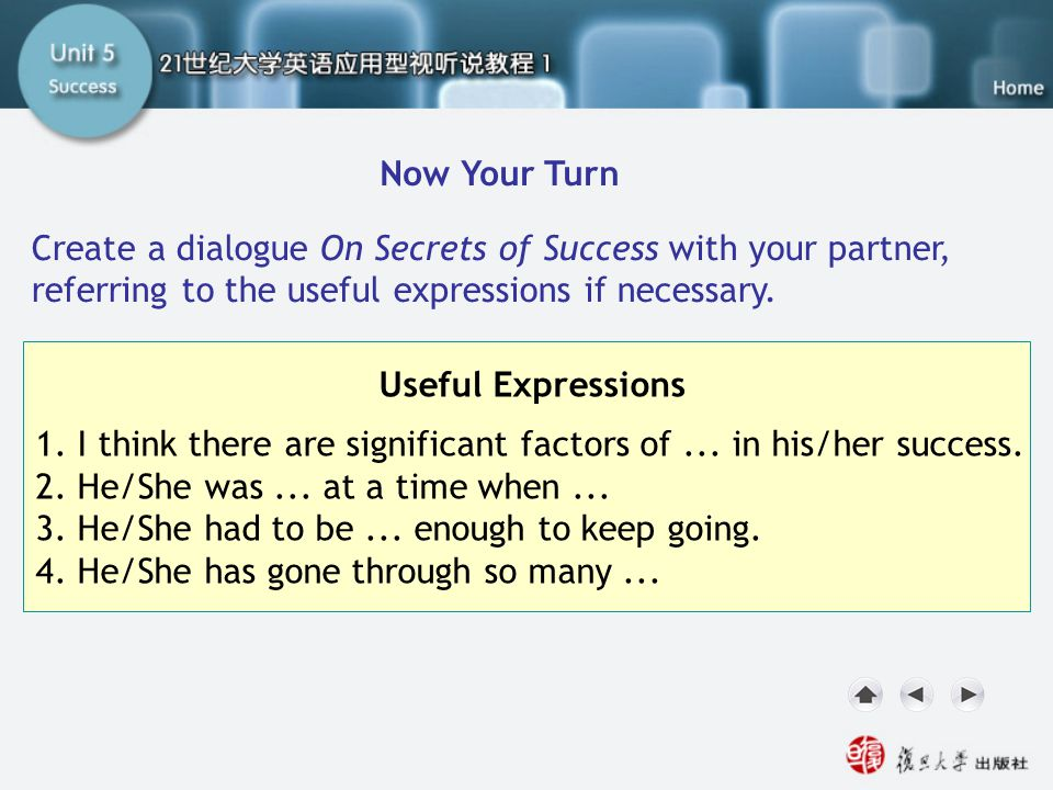 SC IV. Now Your Turn1 Now Your Turn Create a dialogue On Secrets of Success with your partner, referring to the useful expressions if necessary. Usefu