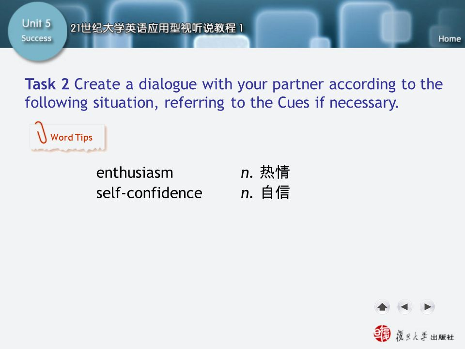 Now Your Turn-Task2.1 Task 2 Create a dialogue with your partner according to the following situation, referring to the Cues if necessary. enthusiasm