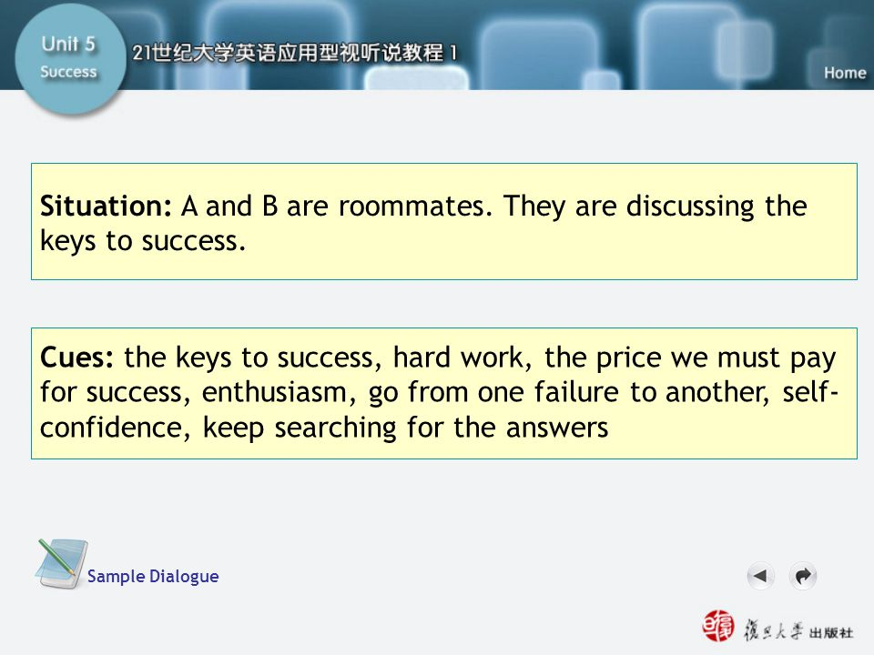 Now Your Turn-Task2.2 Situation: A and B are roommates. They are discussing the keys to success. Cues: the keys to success, hard work, the price we mu