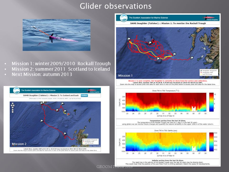 Glider observations Mission 1: winter 2009/2010 Rockall Trough Mission 2: summer 2011 Scotland to Iceland Next Mission: autumn 2013 Mission 1 Mission 2