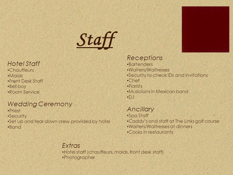 Staff Hotel Staff Chauffeurs Maids Front Desk Staff Bell boy Room Service Wedding Ceremony Priest Security Set up and tear down crew provided by hotel