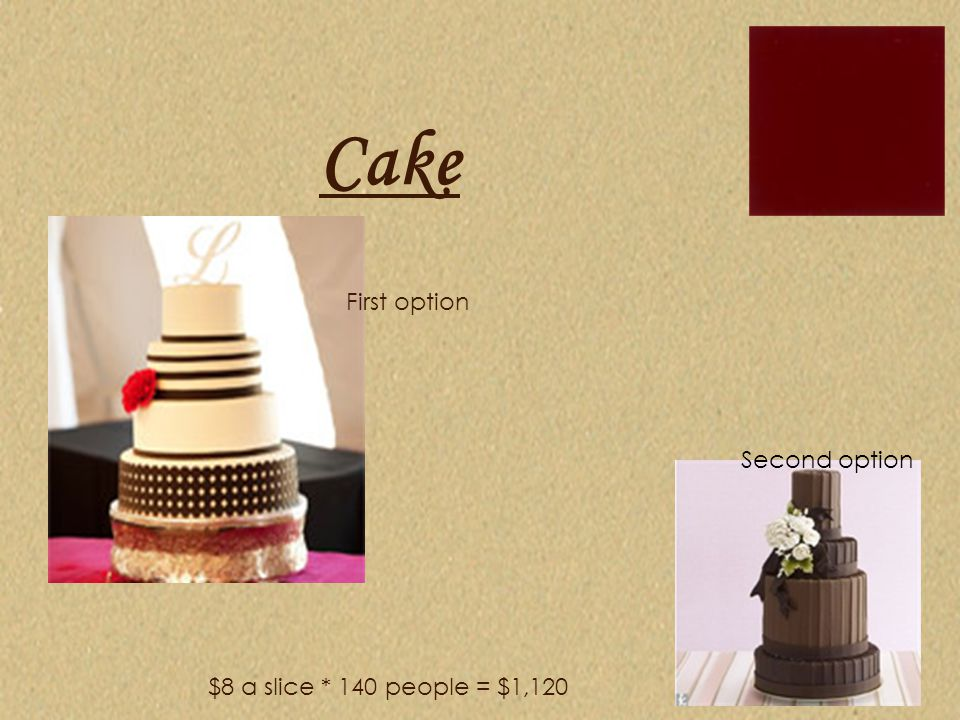 Cake $8 a slice * 140 people = $1,120 First option Second option