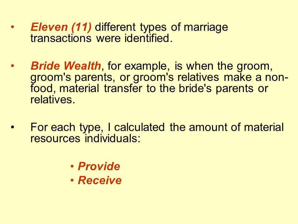 Eleven (11) different types of marriage transactions were identified.