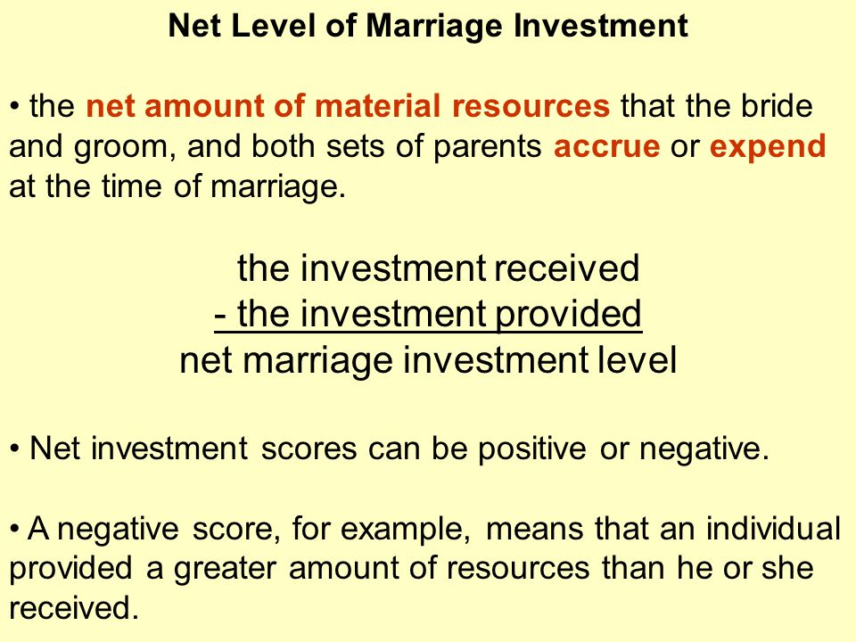 Net Level of Marriage Investment the net amount of material resources that the bride and groom, and both sets of parents accrue or expend at the time of marriage.