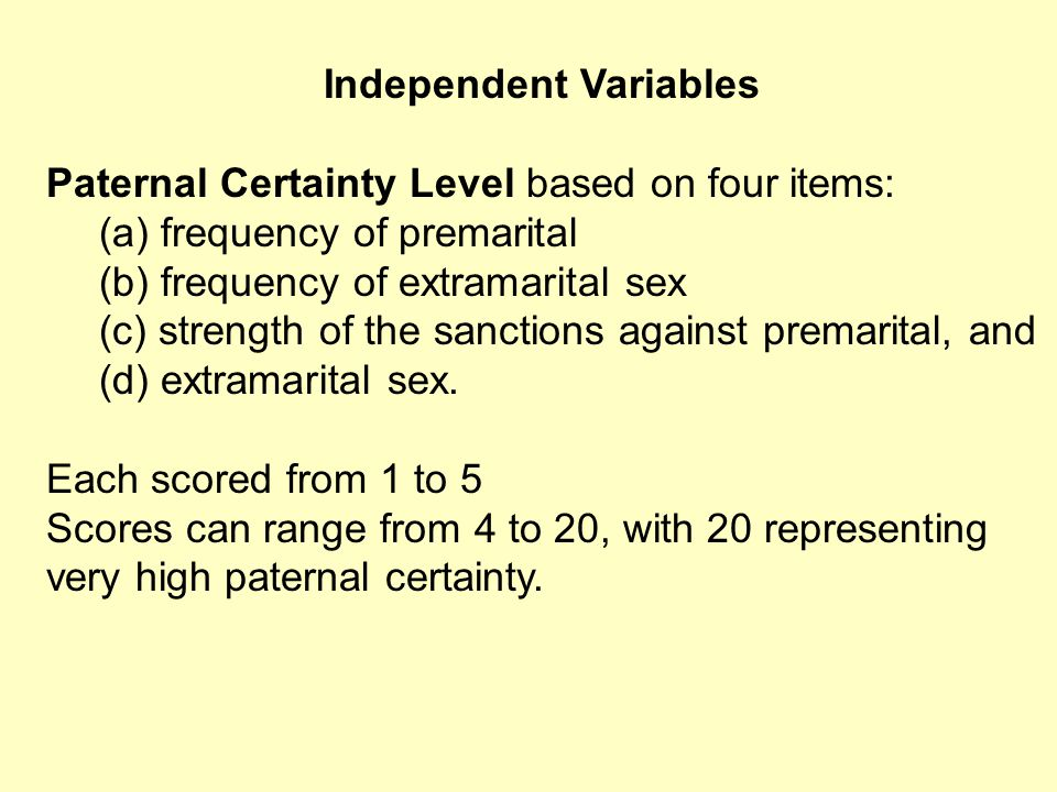 Independent Variables Paternal Certainty Level based on four items: (a) frequency of premarital (b) frequency of extramarital sex (c) strength of the sanctions against premarital, and (d) extramarital sex.